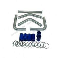 """1.5"""" Universal Aluminum Piping Kit, Madrel Bent, Polished, 1.65mm Thickness Tube, 15 Inch Length"""