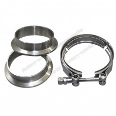 "2.5"" V-Band Clamp + 2.5"" I.D. Flanges (2 Flanges) , 304 Stainless Steel , CNC Billet Flange"