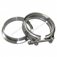 "3"" V-Band Clamp + 3"" I.D. Flange , 304 Stainless Steel , CNC Billet Flange"