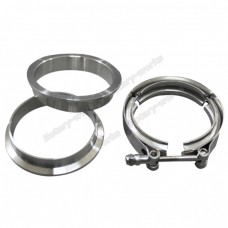 "3"" V-Band Clamp + 3"" I.D. Flanges (2 Flanges) , 304 Stainless Steel , CNC Billet Flange"