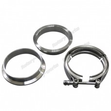 "3.5"" V-Band Clamp + 3.5"" I.D. Flanges (2 Flanges) , 304 Stainless Steel , CNC Billet Flange"