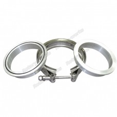 "3.5"" Stainless Steel V-Band Clamp + 3.5"" I.D. Aluminum Downpipe Flanges (2 Flanges) with O-ring seal"