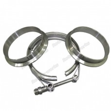 "4"" V-Band Clamp + 4"" Downpipe Flange (2 Flanges), Stainless Steel, CNC Machined Flange"