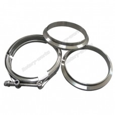 "5"" V-Band Vband Clamp & Flange (2 CNC Flange) Turbo Exhaust Stainless"
