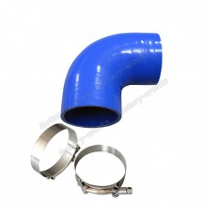"4"" Enforced Silicon Hose, 90 Degree Elbow, with Stainless Steel T-Clamps"